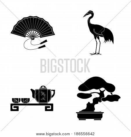 Fan, red crown crane, tea ceremony, bonsai.Japan set collection icons in black style vector symbol stock illustration .