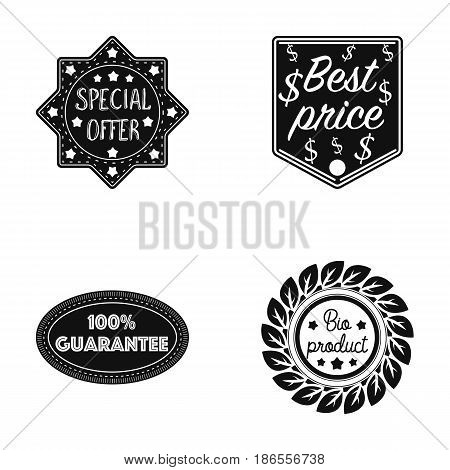Special offer, best prise, guarantee, bio product.Label, set collection icons in black style vector symbol stock illustration .
