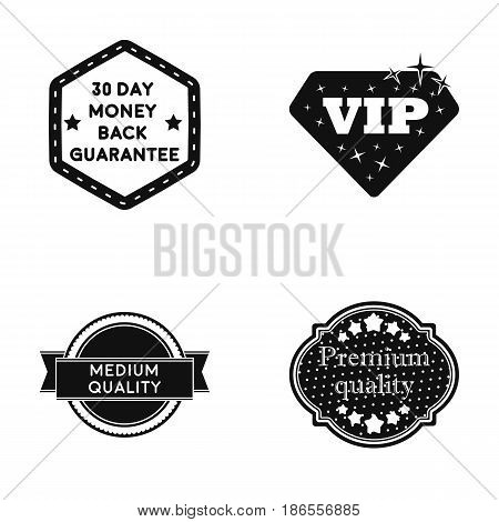 Money back guarantee, vip, medium quality, premium quality.Label, set collection icons in black style vector symbol stock illustration .