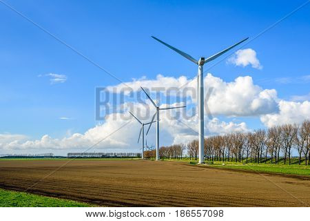 Group of wind turbines at the edge of a plowed field in the Netherlands on a sunny day in the spring season.