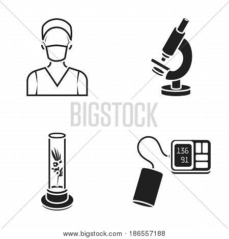 Plant in vitro, nurse, microscope, tonometer. Medicine set collection icons in black style vector symbol stock illustration .