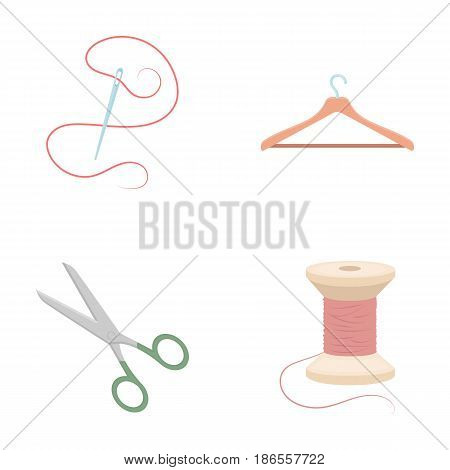Thread, reel, hanger, needle, scissors.Atelier set collection icons in cartoon style vector symbol stock illustration .
