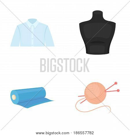 A man's shirt, a mannequin, a roll of fabric, a ball of threads and knitting needles.Atelier set collection icons in cartoon style vector symbol stock illustration .