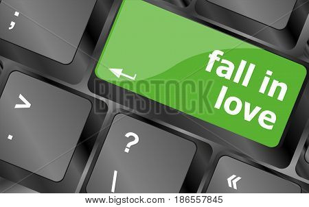 Modern Keyboard Key With Words Fall In Love