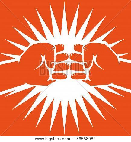 Hand drawn bumping fists over orange background. Vector illustration.