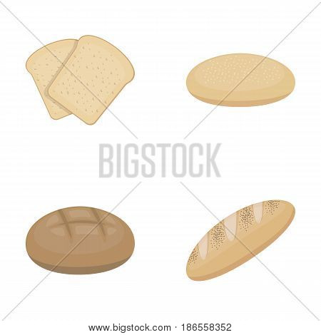 Toast, pizza stock, ruffed loaf, round rye.Bread set collection icons in cartoon style vector symbol stock illustration .