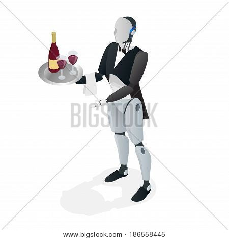 Robot waiter in tuxedo and gloves holding a wine and goblets tray and napkin. Restaurant concept. Flat isometric vector illustration.