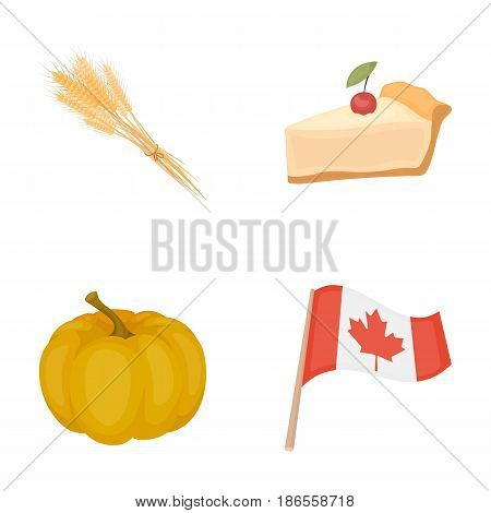 Spike of wheat, a piece of pie with cranberries, pumpkin, national flag.Canada thanksgiving day set collection icons in cartoon style vector symbol stock illustration .