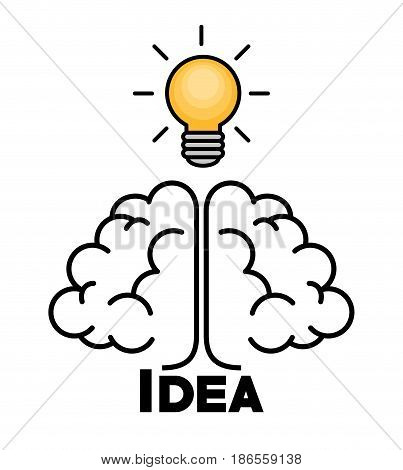 Yellow light bulb, brain and idea sign, over white background. Vector illustration.