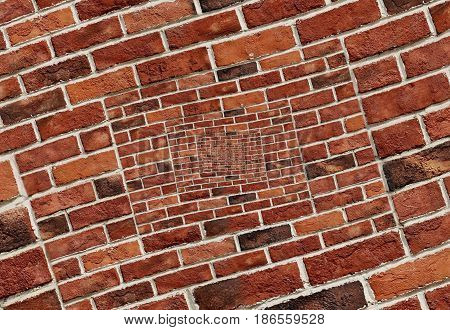 Abstract spiral abstract effect red brick wall texture background pattern. Arch arc mosaic bricks wall Red bricks wall spiral mosaic. Traditional red bricks gray white concrete Pattern wall mosaic