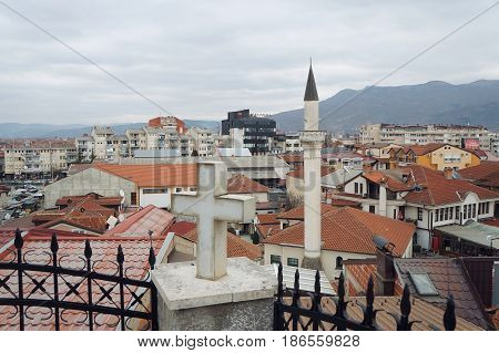 OHRID, MACEDONIA - MARCH 12, 2017: View onto the city from the Church of assumption of Maria the virgin