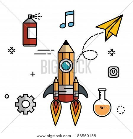 Pencil-shaped skyrocket with gearwheels, paint spray can, beam notes,  paper plane, flask and socket over white background. Vector illustration.
