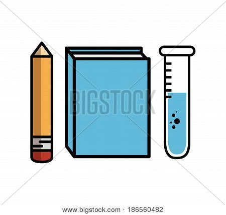 Pencil, blue book and  test tube over white background. Vector illustration.