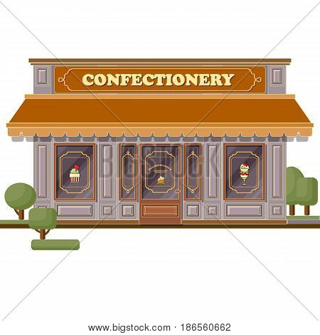 Confectionery shop facade. Flat design vector illustration of small business concept. Stylish sweets boutique. Store design template. Can be used street cafe menu, bar, restaurant, poster, banner, flyer, website.
