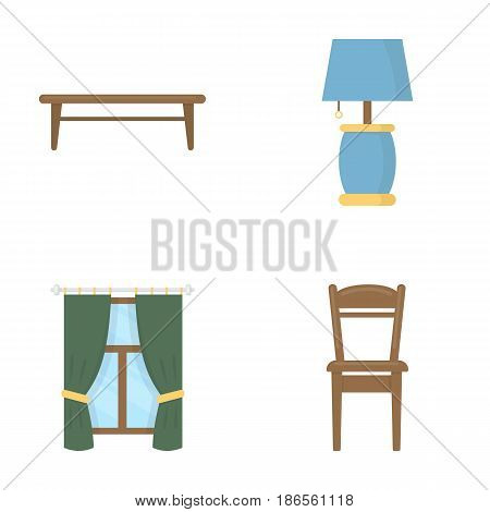 A coffee table, a lamp, curtains, a chair.Furniture set collection icons in cartoon style vector symbol stock illustration .