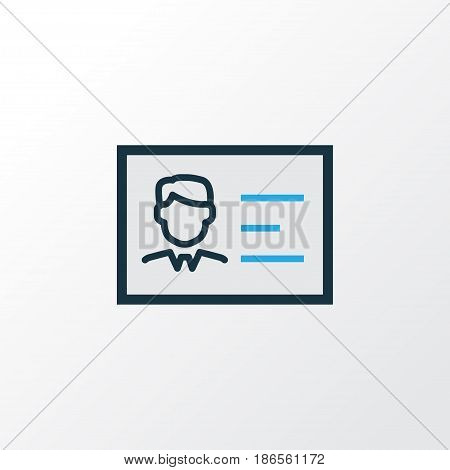 Identification Document Colorful Outline Symbol. Premium Quality Isolated Id Badge Element In Trendy Style.