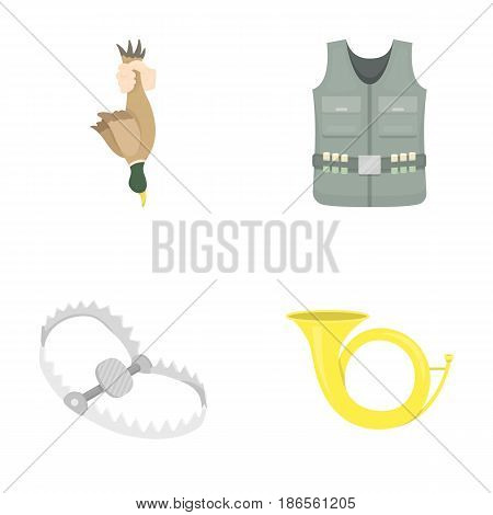 A trophy in his hand, a steel trap, a hunting vest with patronage, a horn..Hunting set collection icons in cartoon style vector symbol stock illustration .