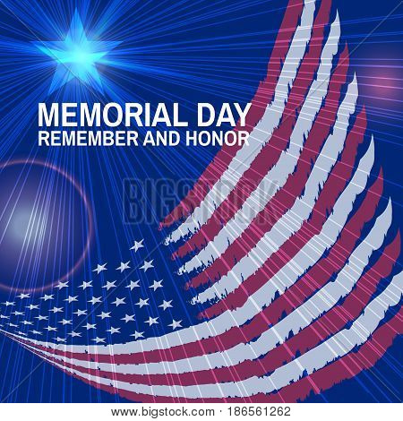 Memorial Day greeting card. Vector. Flag and star, rays, flashes on blue