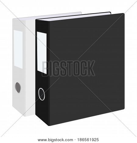 Blank closed office binders set isolated on white background. illustration