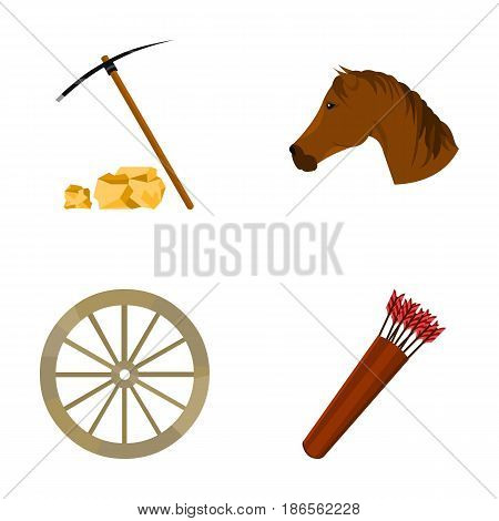 Pickax hoe, horse head, wheel cart, quiver with arrows.Wild west set collection icons in cartoon style vector symbol stock illustration .