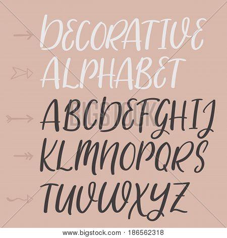 Decorative Hand Drawn Alphabet. Handwritten Brush Font. Modern Calligraphy Abc.