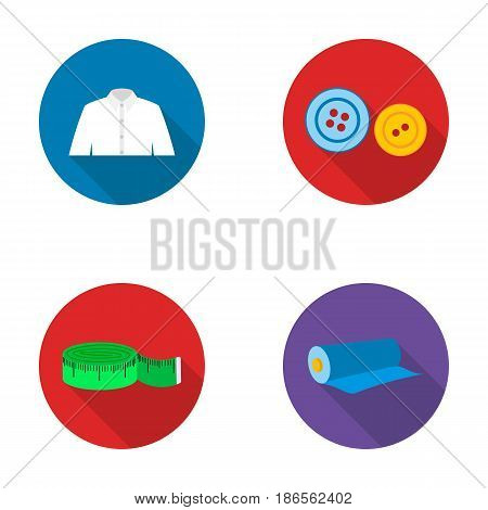 Men's shirt, buttons, centimeter, a roll of fabric.Atelier set collection icons in flat style vector symbol stock illustration .