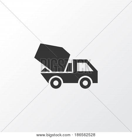 Concrete Mixer Icon Symbol. Premium Quality Isolated Cement Vehicle Element In Trendy Style.