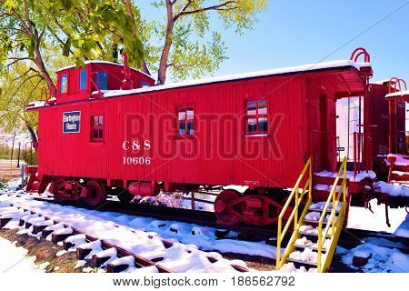May 3, 2017 in Golden, CO:  Caboose which were used for crew accommodations on display in a rail yard at the Colorado Railroad Museum where visitors can tour railroad cars and locomotives in Golden, CO