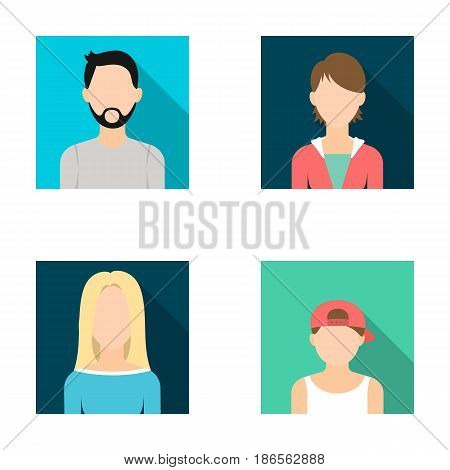 Man with a beard and mustache, blond, boy in a cap, girl teenager.Avatar set collection icons in flat style vector symbol stock illustration .