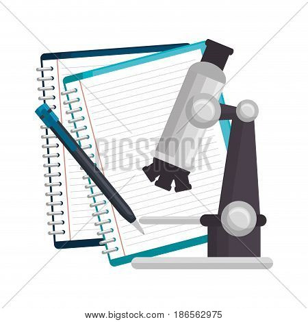 Notebooks, pen and microscope over white background. Vector illustration