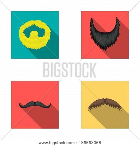 Man's beard and mustache.Beard set collection icons in flat style vector symbol stock illustration .