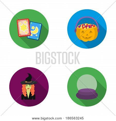 Tarot cards, holiday halloween, magician in a hat, crystal ball.Black and white magic set collection icons in flat style vector symbol stock illustration .