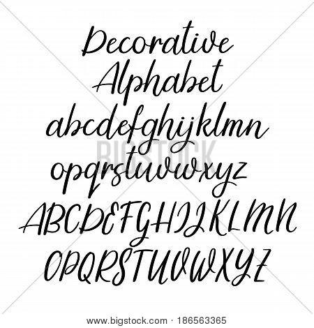 Decorative Calligraphic Alphabet. Handwritten Brush Letters. Uppercase, Lowercase. Vector Font