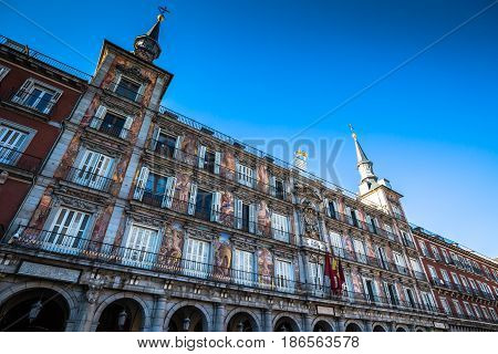 Famous Plaza Mayor in Madrid Spain Europe .