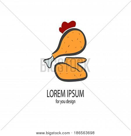 Fried chicken on white background - Vector illustration of Fried chicken