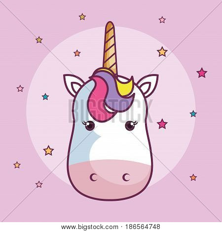 Kawaii unicorn head with colorful mane over pink background. Vector illustration.