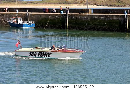 Padstow, Cornwall, April 6Th 2017: Speedboat