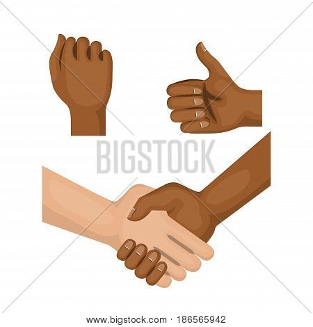 Afro american and caucasian people holding hands, fist and thumb up over white background. Vector illustration.
