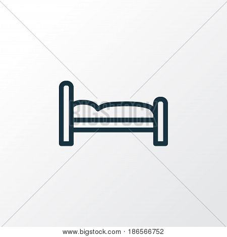 Bed Outline Symbol. Premium Quality Isolated Bedstead Element In Trendy Style.