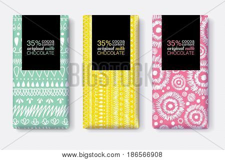 Vector Set Of Chocolate Bar Package Designs With Modern Vibrant Tribal Ikat Patterns. Rectangle frame. Editable Packaging Template Collection. Packaging and Surface pattern design.