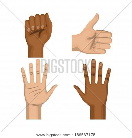 Afro american and caucasian people raised hand, fist and thumb up over white background. Vector illustration.