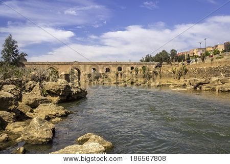 View over Oum Errabia river and Bridge to Kasba Tadla city in Béni-Mellal Province Tadla-Azilal Morocco.