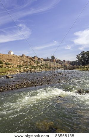 View over Oum Errabia river and Kasba Tadla fortress in Béni-Mellal Province Tadla-Azilal Morocco.