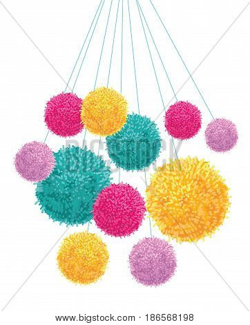 Vector Colorful Pom Poms Bunch Hanging Decorative Element. Great for nursery room, handmade cards, invitations, baby designs. Cute Birthday party decor.