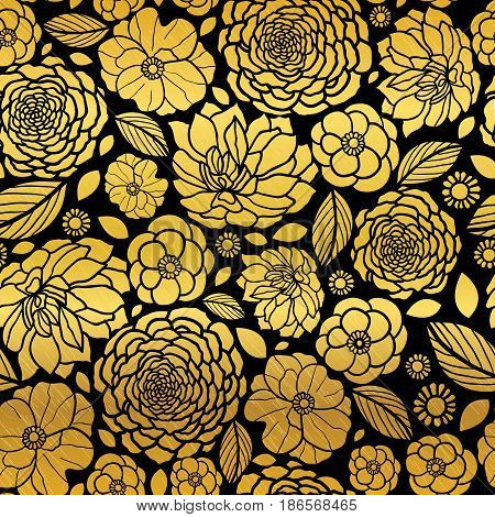 Vector Gold and Black Mosaic Flowers Seamless Repeat Pattern Background Design. Great For Elegant wedding invitations, anniversary, packaging, fabric, wallpaper. Surface pattern design.