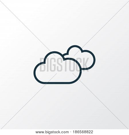 Cloudy Sky Outline Symbol. Premium Quality Isolated Overcast Element In Trendy Style.