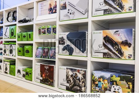 Cincinnati - Circa May 2017: XBOX One Consoles and accessories at a Microsoft Retail Technology Store VI