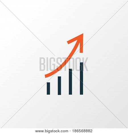 Growing Stats Colorful Outline Symbol. Premium Quality Isolated Financial Profit Element In Trendy Style.