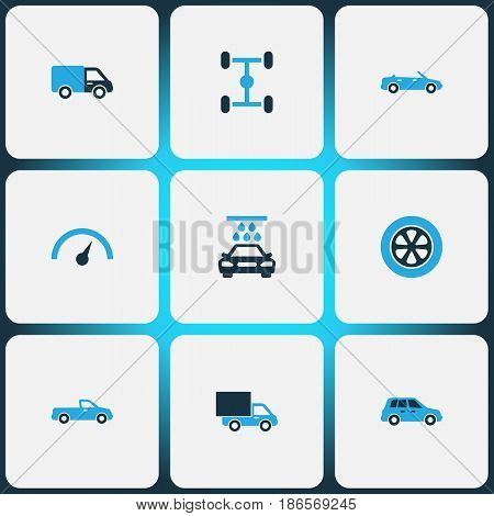 Automobile Colorful Icons Set. Collection Of Pickup, Lorry, Chassis And Other Elements. Also Includes Symbols Such As Water, Chronometer, Wash.
