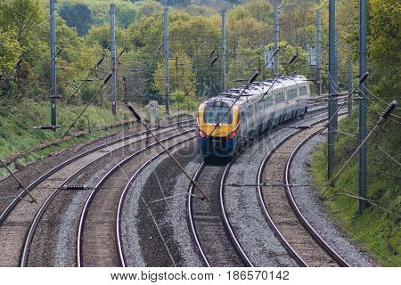 St Albans UK - May 2 2017: British East Midlands train in motion on the railway